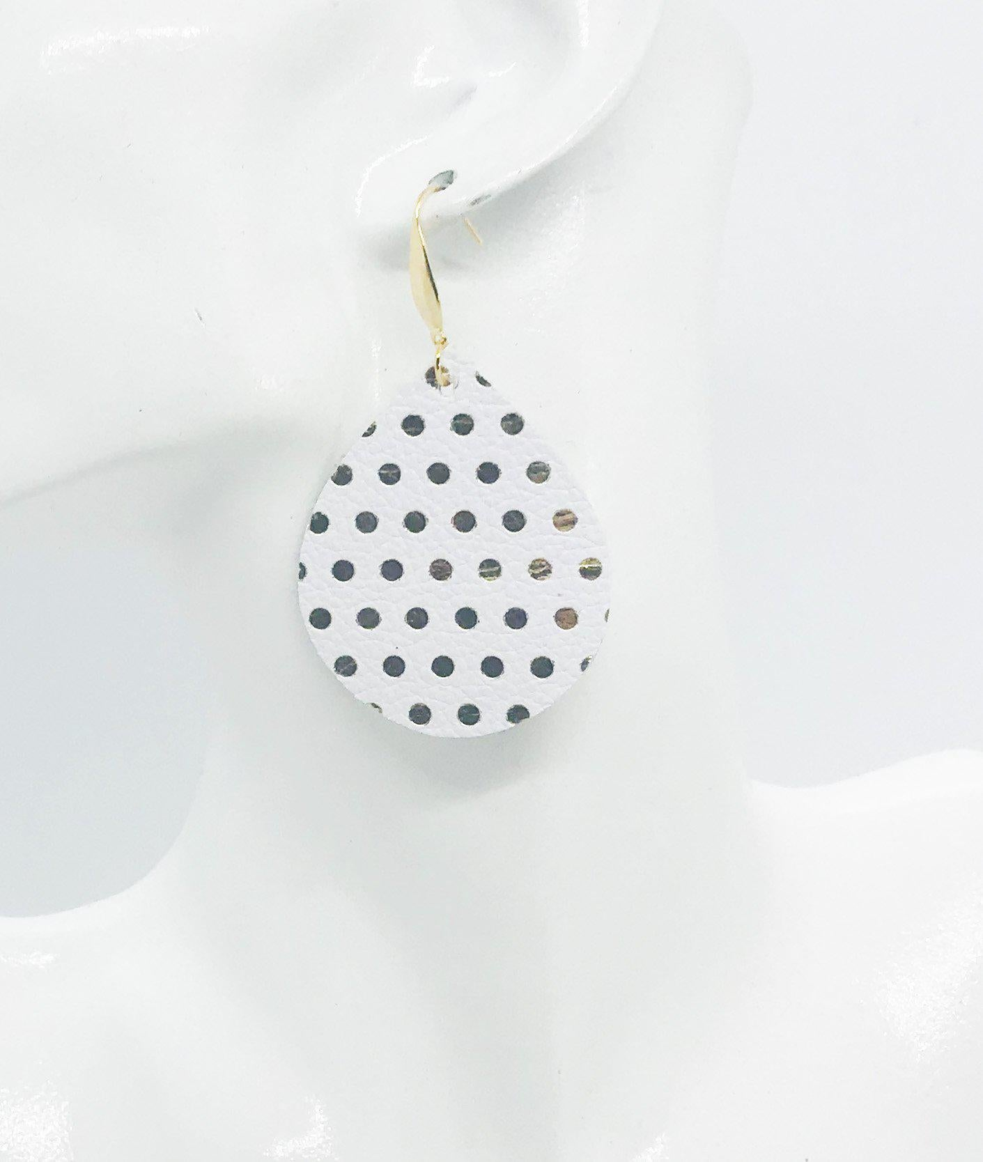 White Metallic with Gold Polka Dot Leather Earrings - E19-1308