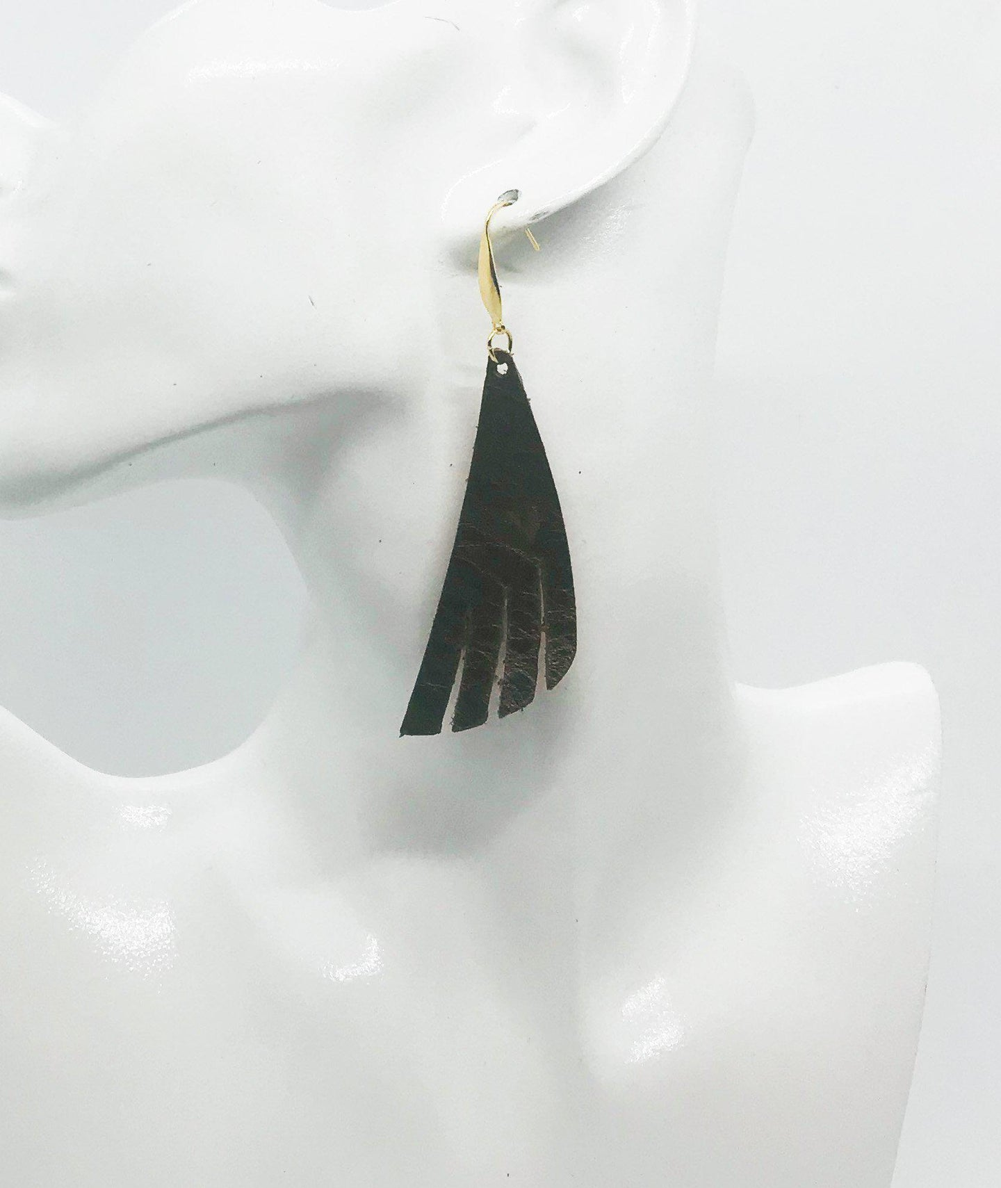 Whisky Brown Leather Earrings - E19-1322