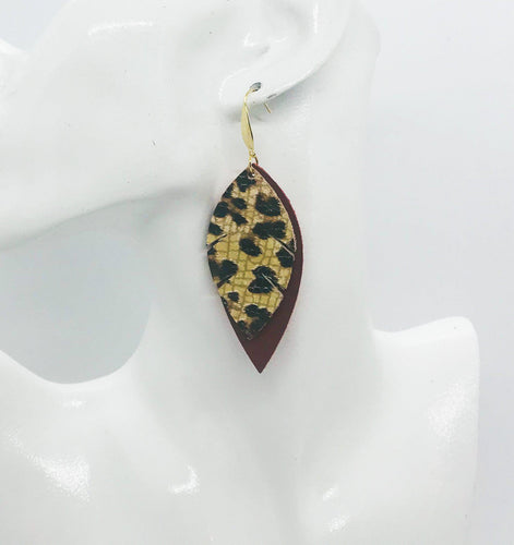 Cranberry Leather and Banana Leopard Leather Earrings - E19-1347