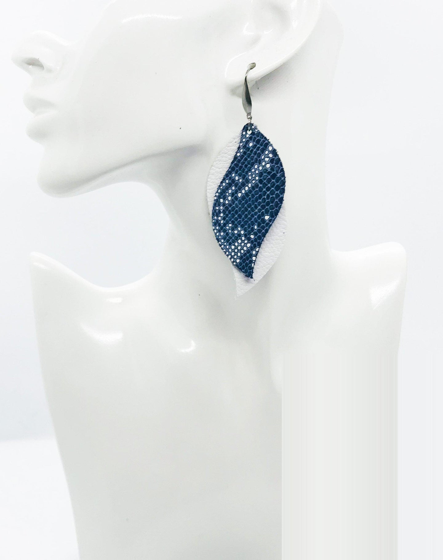 White Leather and Navy Snake Leather Earrings - E19-1356