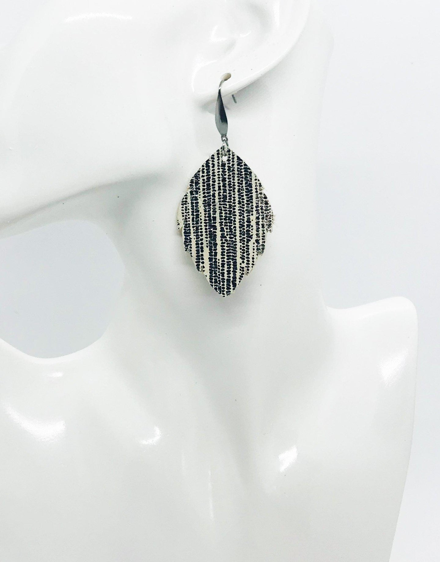 Striped Silver on Beige Metallic Leather Earrings - E19-1360