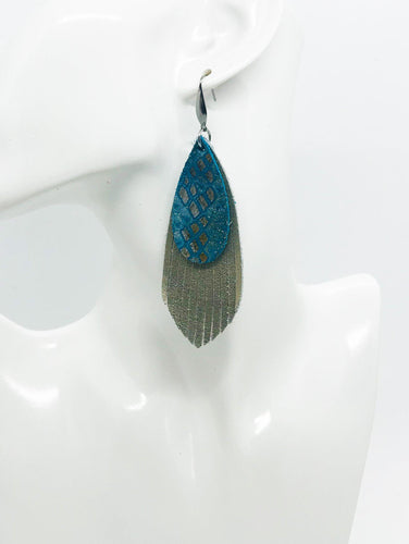 Metallic Gold and Turquoise Python Snake Leather Earrings - E19-1378