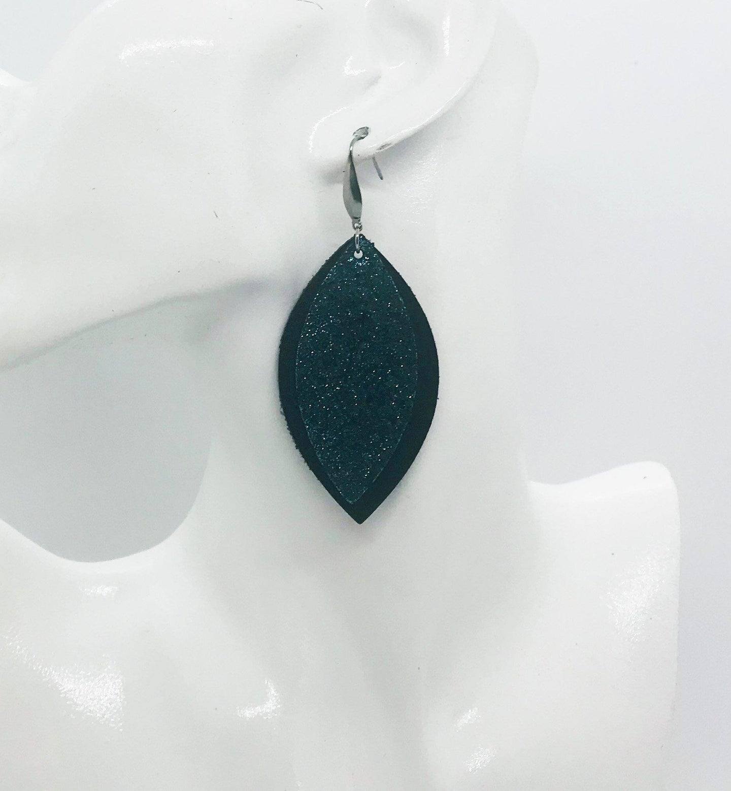 Black and Turquoise Blue Leather Earrings - E19-1387