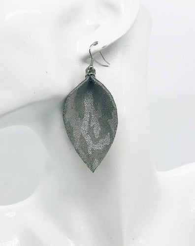 Gray Metallic Camo Leather Earrings - E19-140