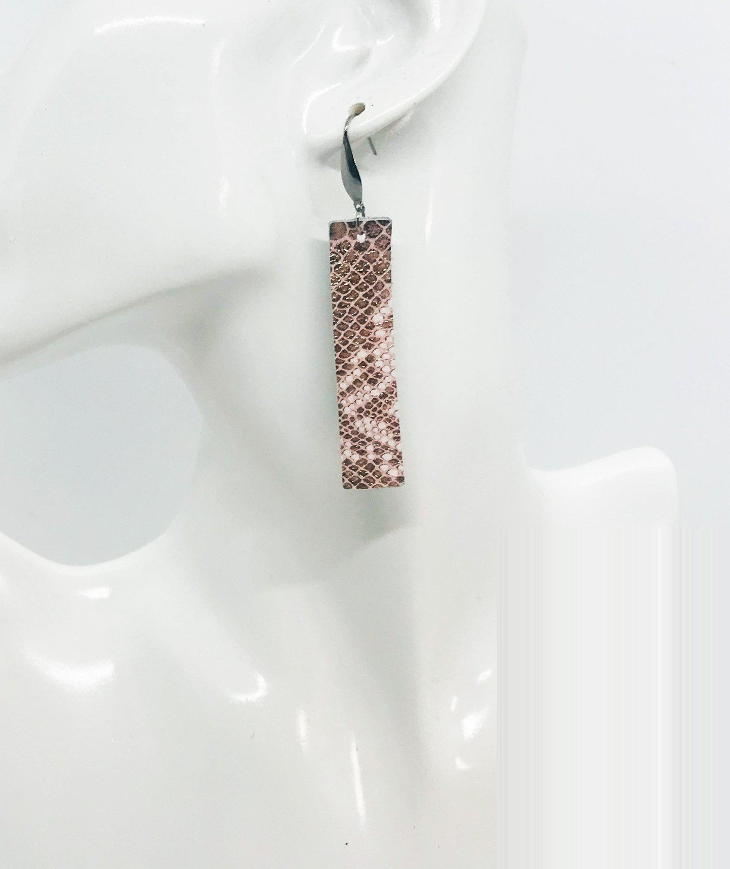 Rose Gold Metallic Snake Leather Earrings - E19-1411