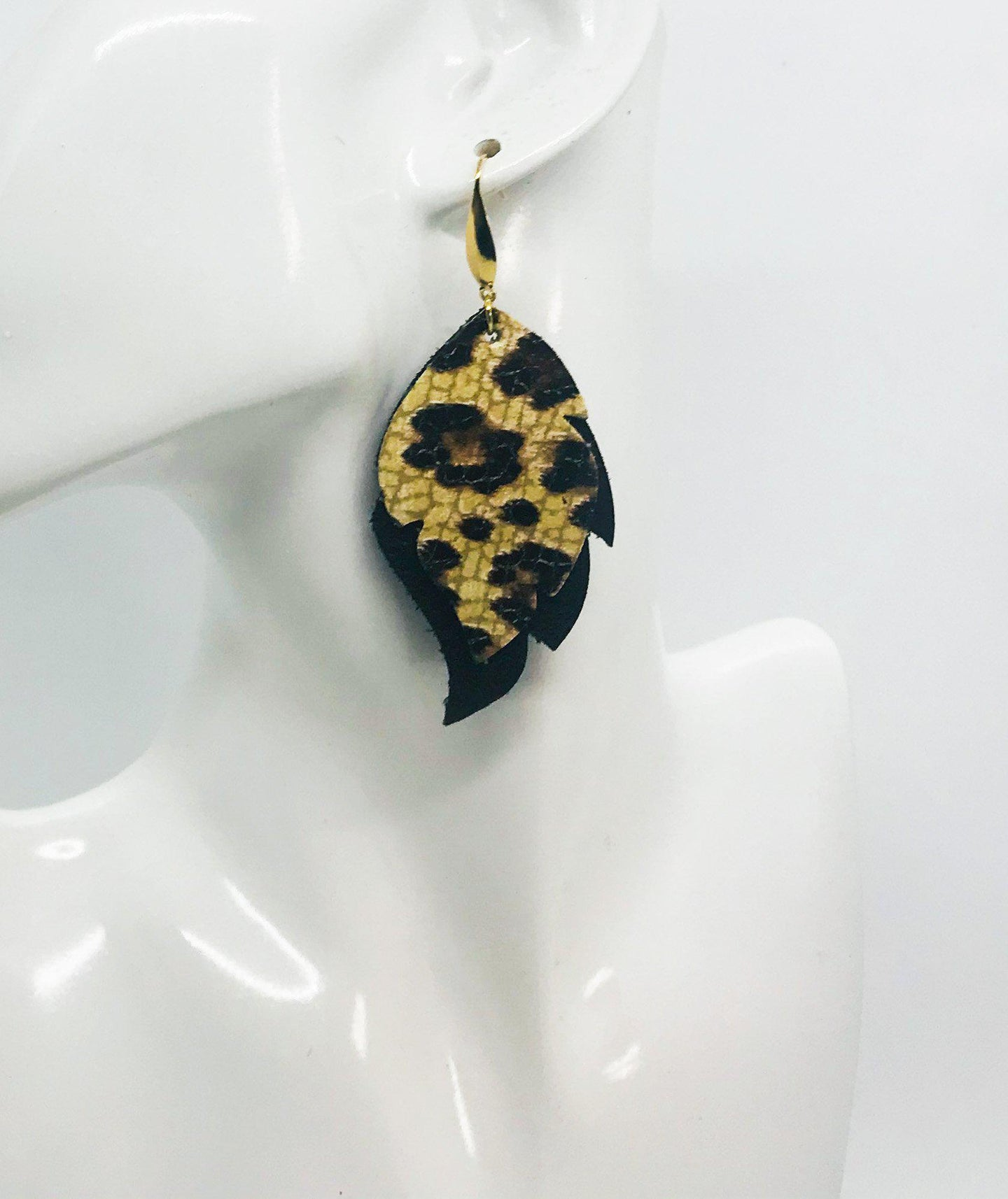 Black and Leopard Print Leather Earrings - E19-1412