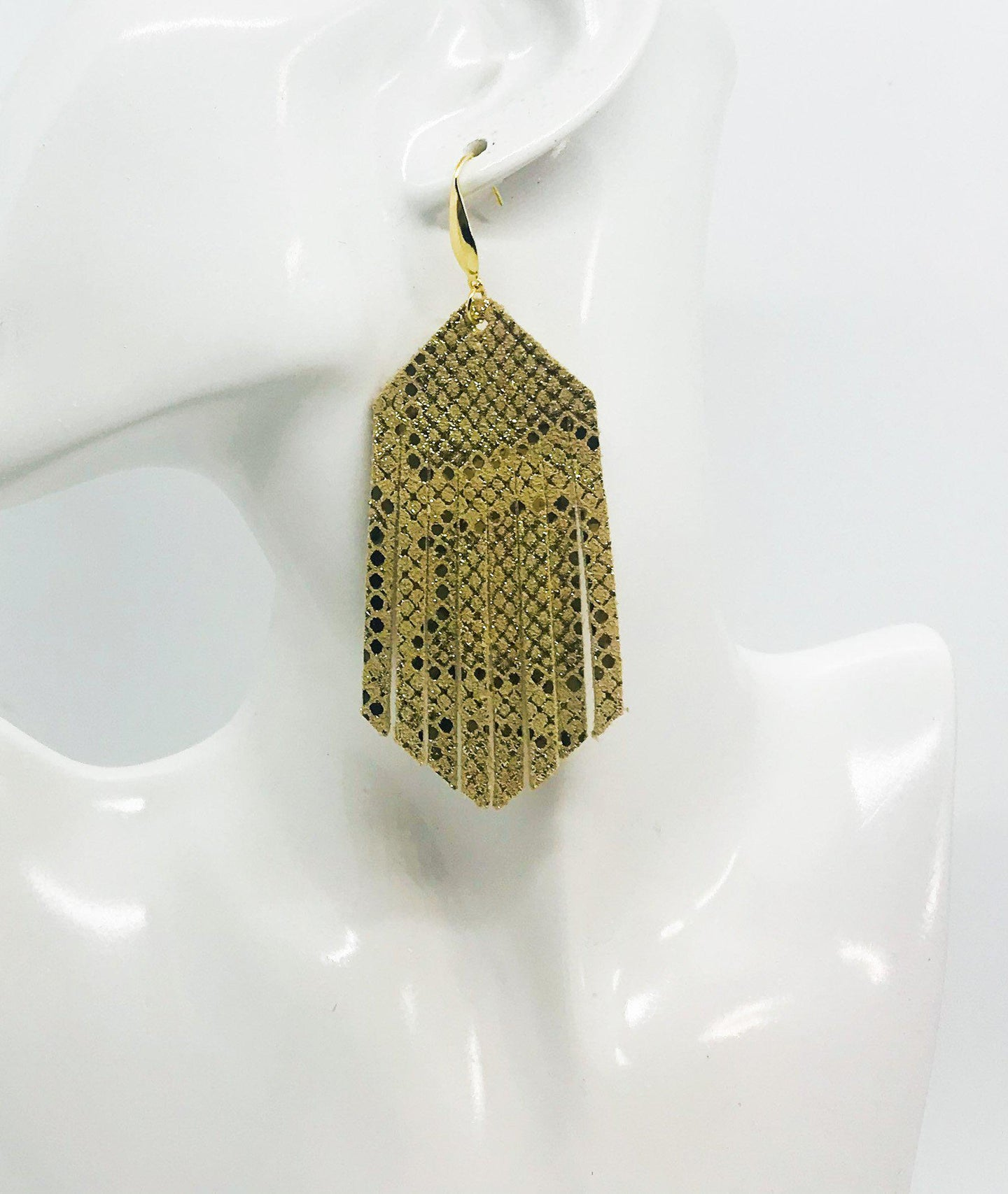 Mystic Gold on Tan Leather Earrings - E19-1437