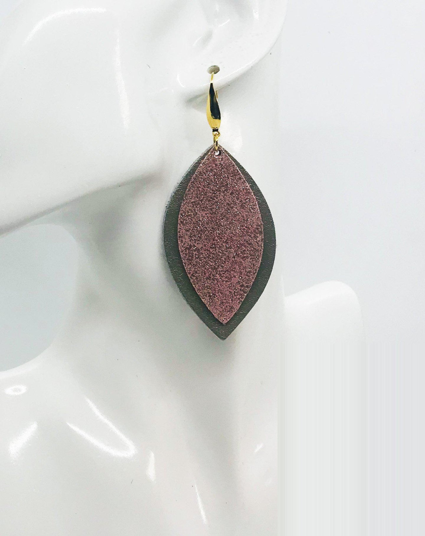 Metalic Gold and Rose Gold Leather Earrings - E19-1451