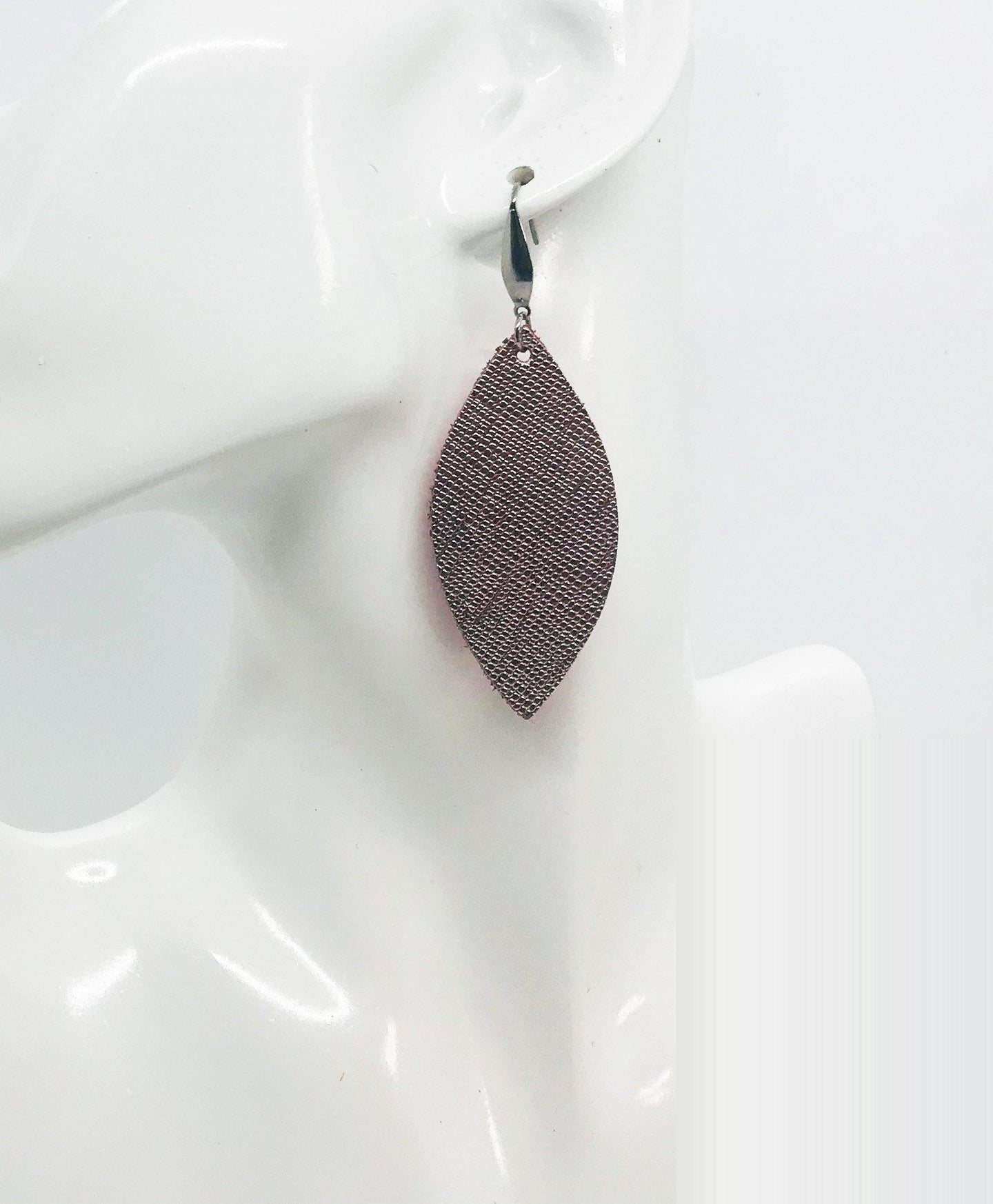 Rose Gold Weave Pattern Leather Earrings - E19-1469
