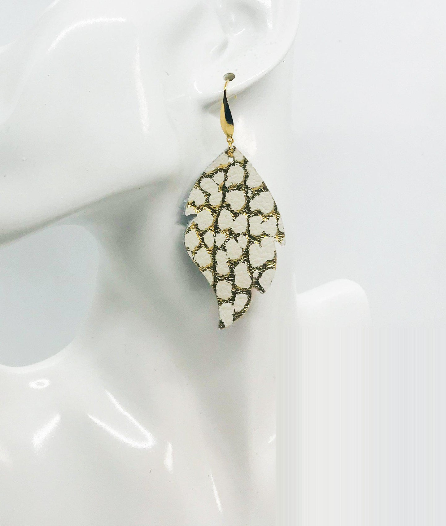 Gold Metallic on Ivory Leather Earrings - E19-1489