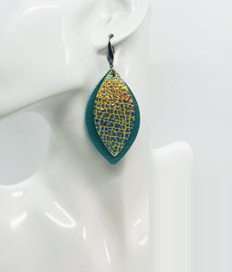 Blue Green Soft Leather and Silver Halo on Banana Leather Earrings - E19-1499