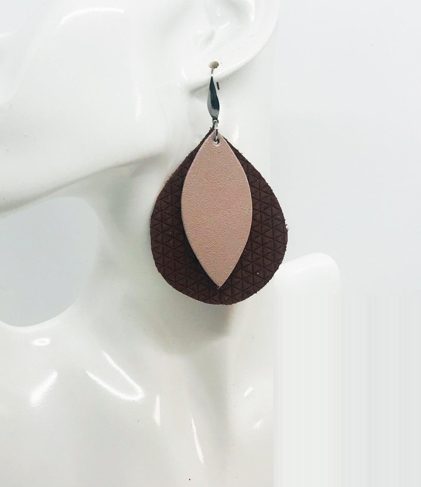 Cinnamon Italian Leather and Rose Gold Leather Earrings - E19-1501