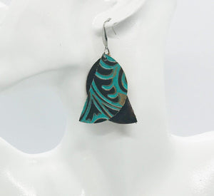 Brown and Turquoise Genuine Leather Earrings - E19-150