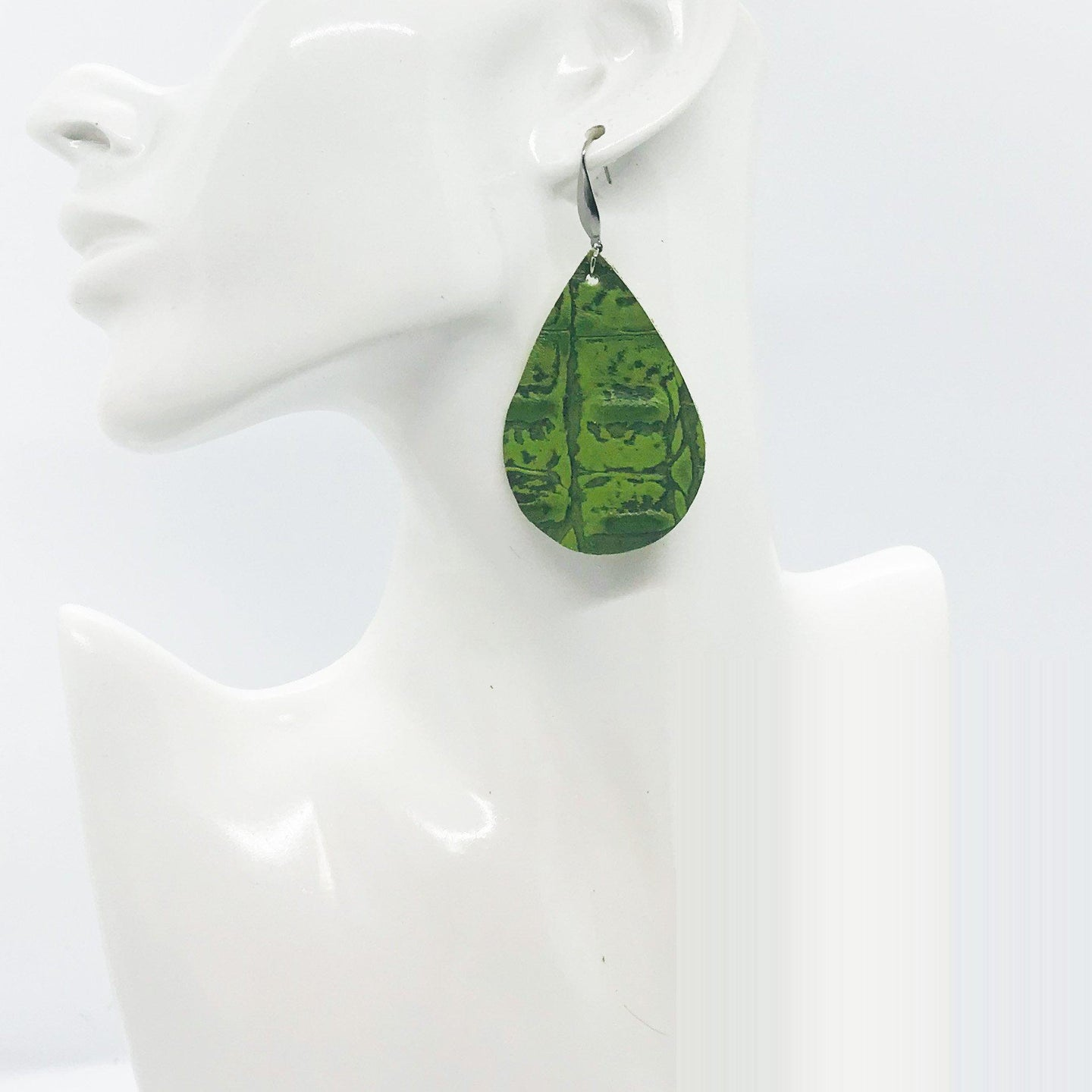 Green Alligator Leather Earrings - E19-1564