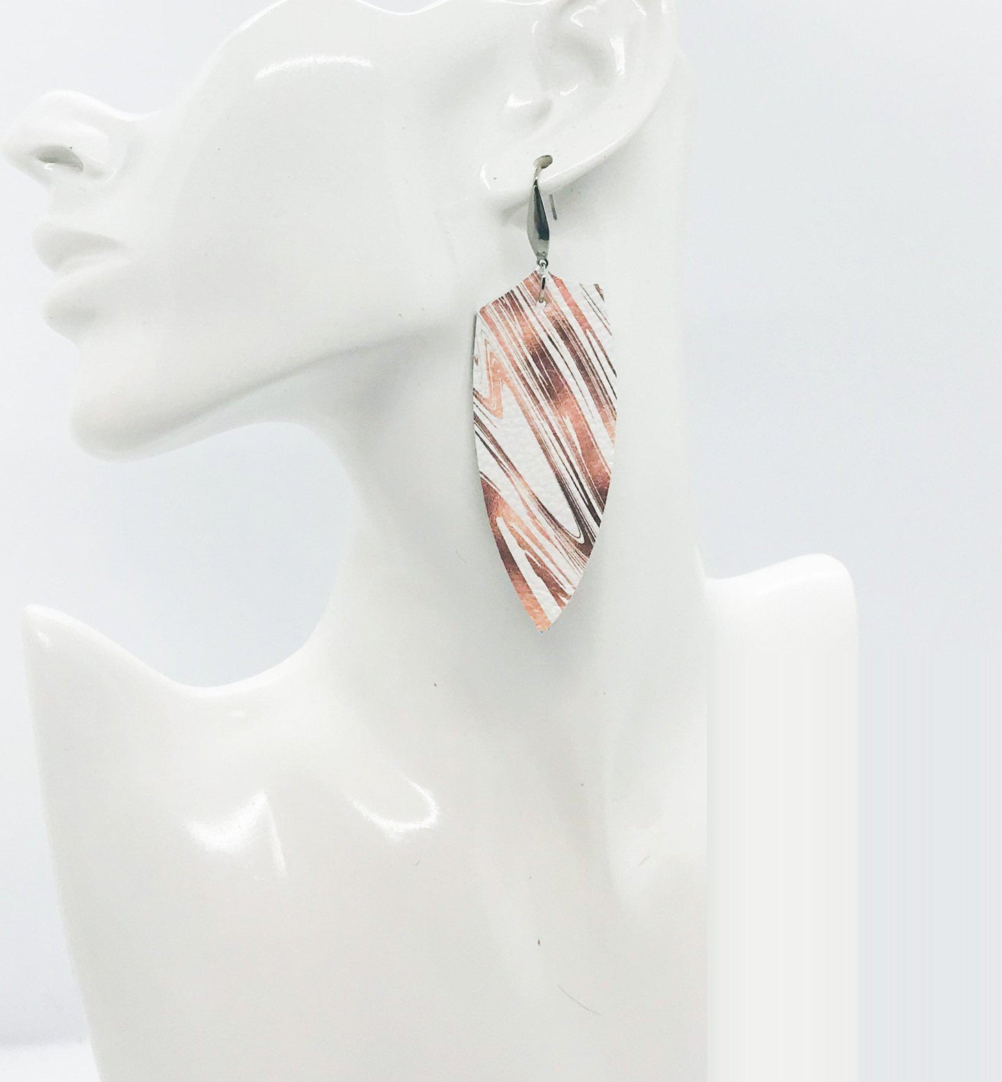 Marbled Pattern Leather Earrings - E19-1584