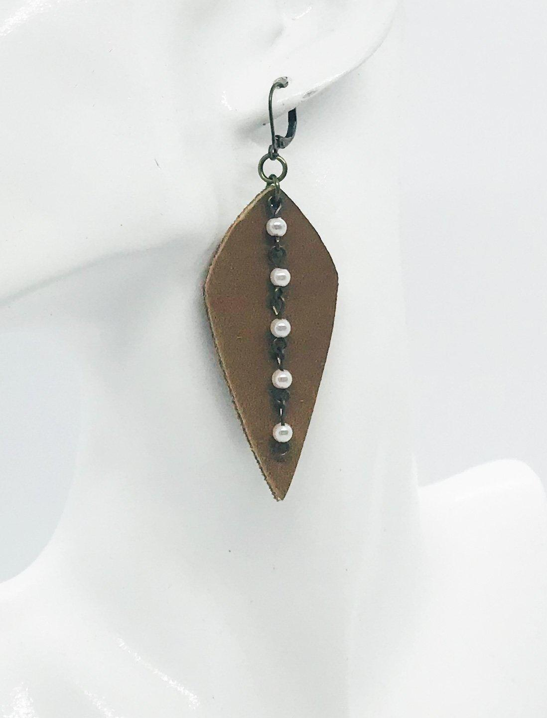 Leather and Chain Pearl Earrings - E19-159