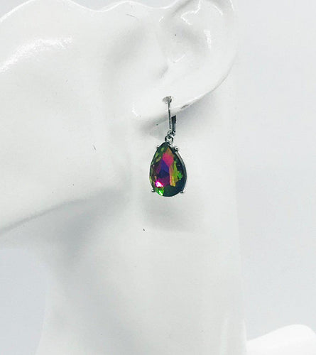 Multicolor Teardrop Glass Earrings - E19-161