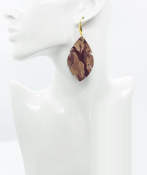 Burgundy Metallic Camo Leather Earrings - E19-1652