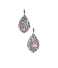 Load image into Gallery viewer, Roses over Black Leopard Spotted Leather Earrings - E19-1692
