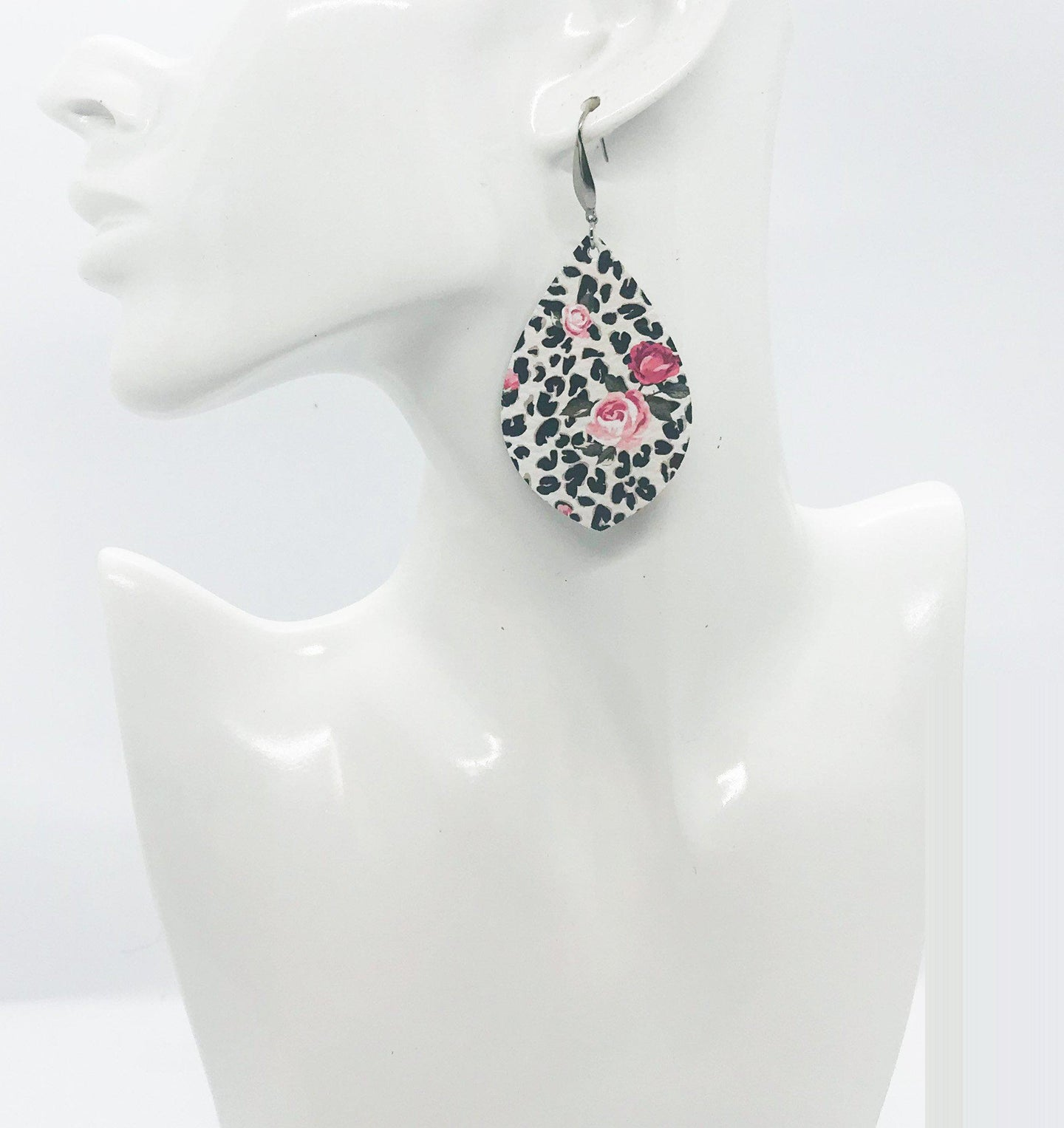 Roses over Black Leopard Spotted Leather Earrings - E19-1692