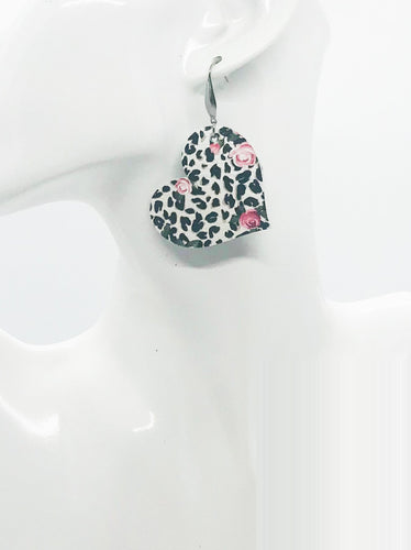 Roses over Black Spotted Leopard Leather Earrings - E19-1744