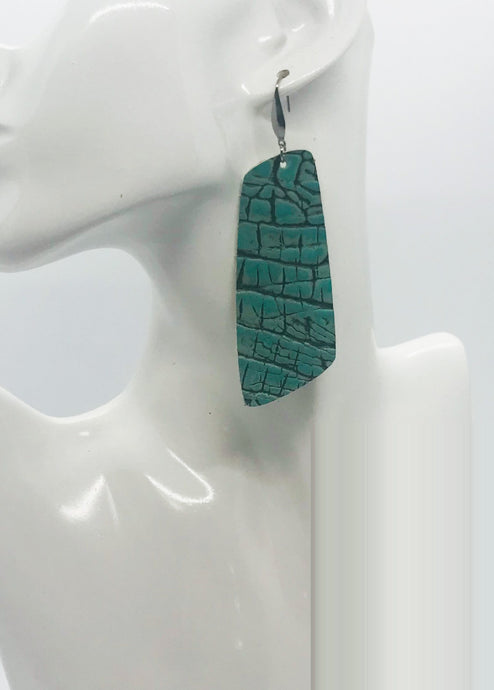 Turquoise Alligator Leather Earrings - E19-1760