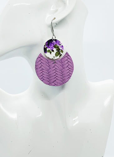 Purple Braided Italian Leather and Faux Leather Earrings - E19-1792