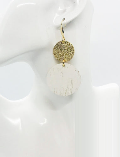 Gold Leather and White Birch Cork Leather Earrings - E19-1827