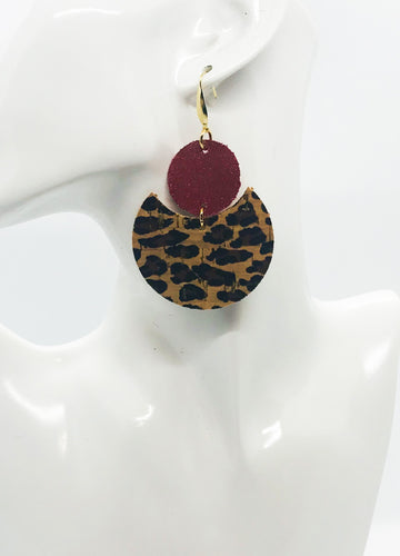 Baby Cheetah and Red Dazzle Leather Earrings - E19-1846