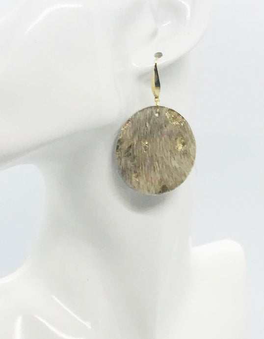 Hair On Metallic Gold Leather Earrings - E19-2091
