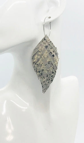 Gray Snake Skin Fringe Leather Hoop Earrings - E19-2119