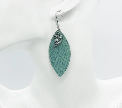 Sea Foam Green Genuine Leather Earrings - E19-212