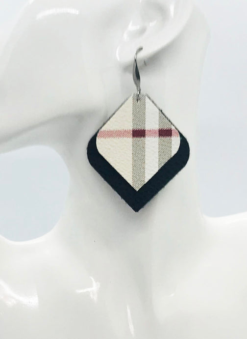 Black and Plaid Faux Leather Earrings - E19-2131