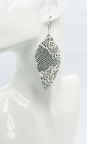 Beige and Gray Snake Skin Fringe Leather Hoop Earrings - E19-2137