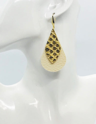 Gold Snake and Ivory Faux Leather Earrings - E19-2144