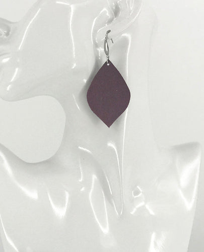 Burgundy Suede Leather Earrings - E19-2150