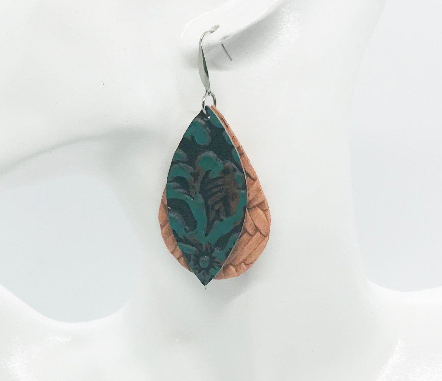Teal and Italian Genuine Leather Earrings - E19-218