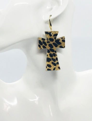 Hair On Cheetah Leather Cross Earrings - E19-2205