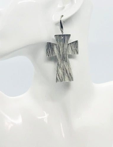 Hair On Cross Leather Earrings - E19-2210