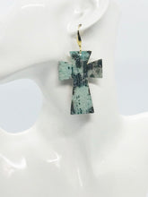 Load image into Gallery viewer, Driftwood Embossed Leather Cross Earrings - E19-2221