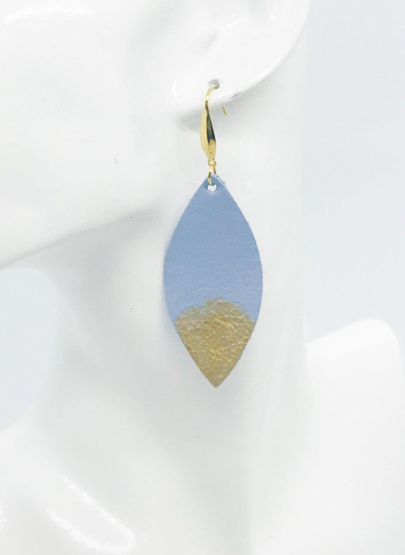 Blue Genuine Leather Painted Earrings - E19-225