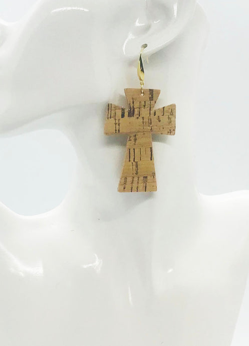 Gold Metallic Accent Cork on Leather Cross Earrings - E19-2332