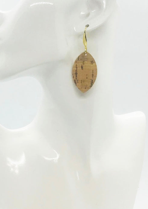 Gold Metallic Accent Cork on Leather Earrings - E19-2335