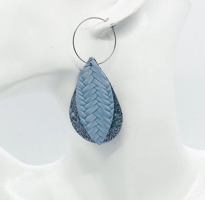 Blue Leather and Glitter Hoop Earrings - E19-233