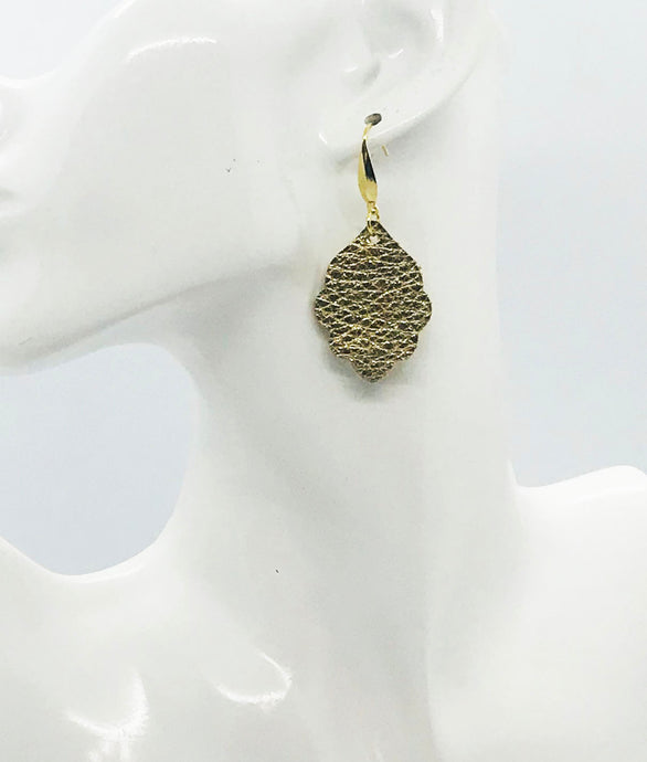 Gold Pebbled Leather Earrings - E19-2364