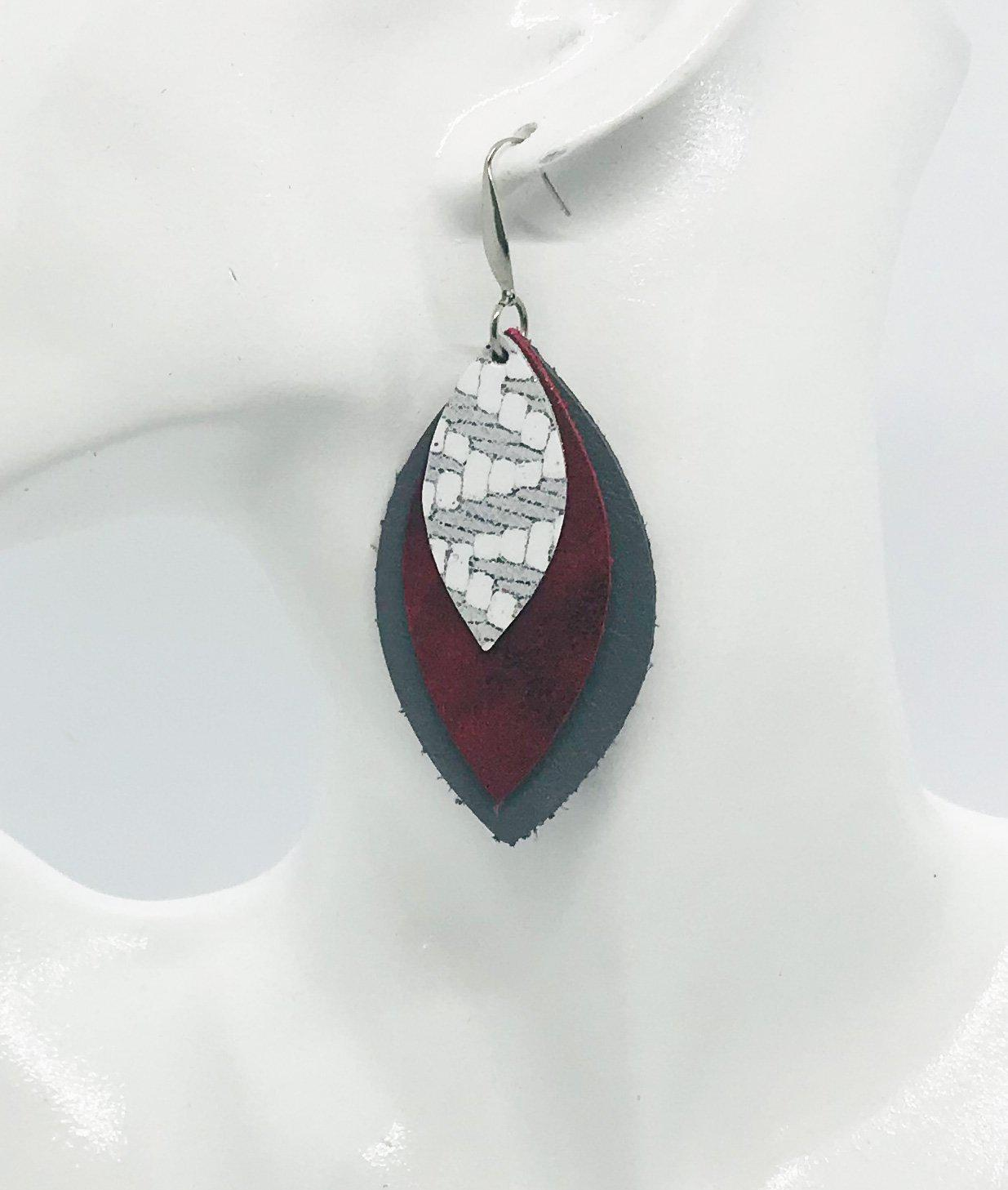 Leather Leaf Layered Earrings - E19-239