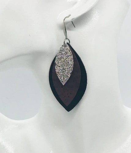 Leather, Cork and Glitter Layered Earrings - E19-240