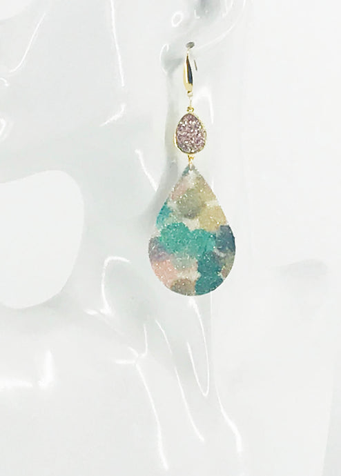Druzy Agate and Fine Glitter on Leather Earrings - E19-2430