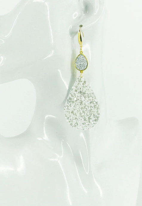 Druzy Agate and Pearly White Glitter on Leather Earrings - E19-2440