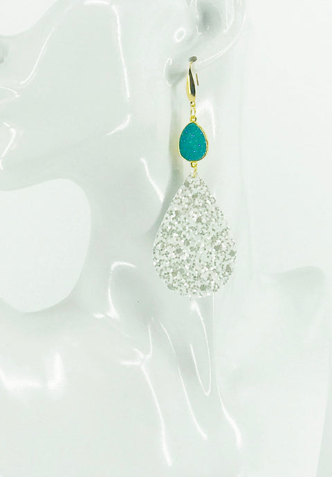 Druzy Agate and Pearly White Glitter on Leather Earrings - E19-2451